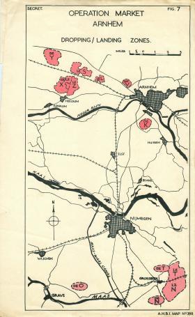 Map showing Arnhem dropping/landing zones.