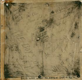 Some scribbled messages and names by airborne soldiers who went to Arnhem.