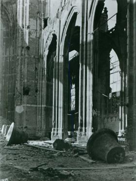 Arnhem Cathedral destroyed after heavy shelling.