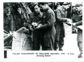 Polish paratroops in Holland at a field dressing station.