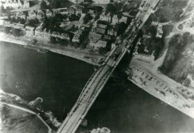 Aerial view of Arnhem Bridge showing British positions.