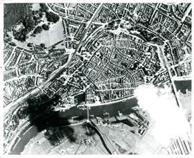 Aerial photo of Arnhem Bridge taken on September 6th 1944.