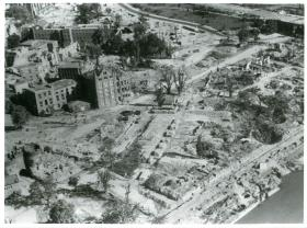 Aerial view of Arnhem destroyed by the battle.