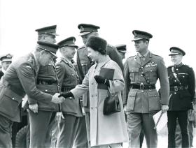 General Sir Frank King meeting Queen Elizabeth.