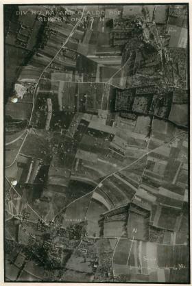 Aerial photo showing gliders on landing zone N.