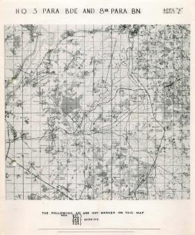 Map showing HQ 3 Parachute Brigade and 8th Parachute Battalion.