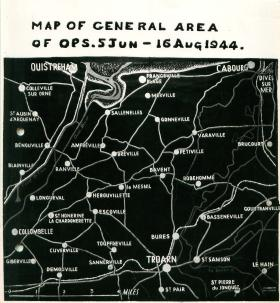 Map showing general area of operations from June 5th-August 16th 1944.