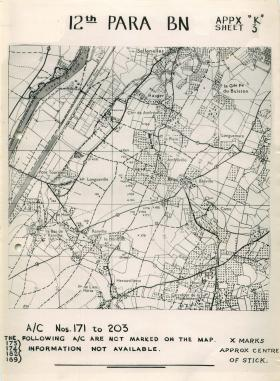 Map showing positions of 12th Parachute Battalion in Normandy.