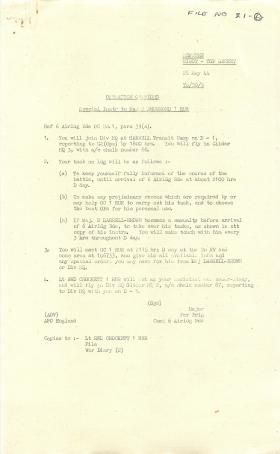 Special instructions for Major J Drummond.