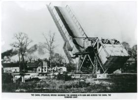 Photos shows Pegasus Bridge, German anti-tank gun and Gondree cafe.