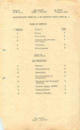 Administrative order No. 1 for Operation Dragoon.