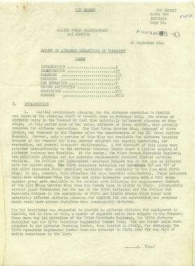 Report on airborne operations for Op Dragoon.