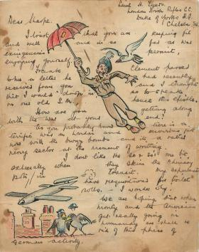 Lively letter with amusing cartoons referencing Operation Dragoon.