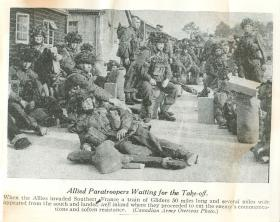 Allied paratroopers waiting for the take off to southern France.
