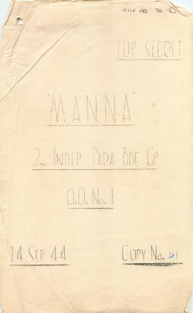 Operation Order No. 1 for Operation Manna.