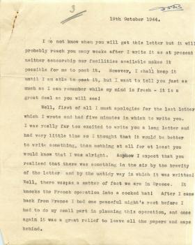 Letter from unknown author about experiences of Operation Dragoon.