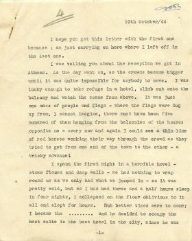 Letter from unknown author about reception British troops received in Athens.