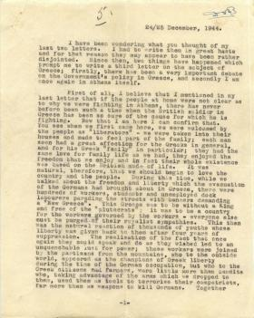 Letter from unknown author about fighting in Athens.