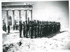 A Company 6th Parachute Battalion raise the Greek flag at the Acropolis.