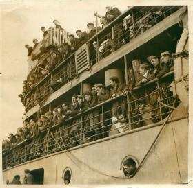 Troops on their way back to Italy on the SS Princess Kathleen.