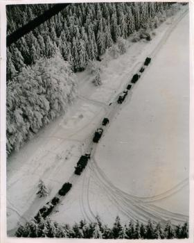 Aerial view of Ardennes battle sector.