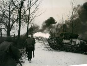 British troops move north from Echt and a crocodile flame-thrower in action.