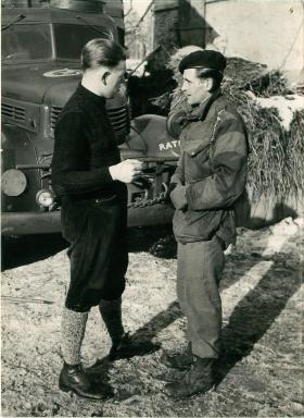Only survivor of the Bande atrocity talks to Sgt Lawrie of 6th AB Division.