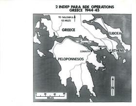 Map showing 2 Independent Brigade's operations in Greece.
