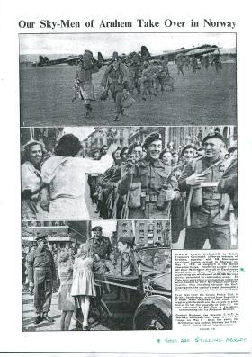 Article about airborne troops arriving in Oslo.