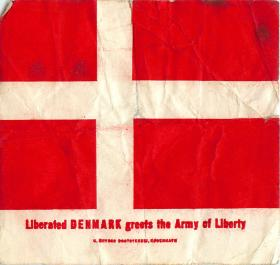 Danish flag with greeting to liberators.