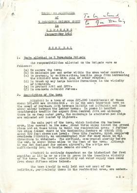 Report on activities of 5th Parachute Brigade in Semarang, Jan-May 1946.