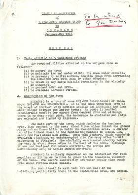 Report on activities of 5th Parachute Brigade in Semarang, Jan-May 1946.