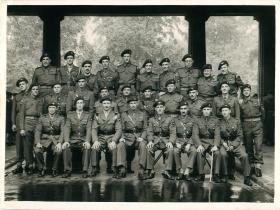 Group shot of members of 5th Parachute Brigade at Buckingham Palace, June 1945.
