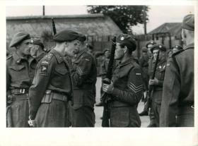 Brigadier Hill inspects the Norwegian Parachute Company at Bulford Camp, Salisbury Plain.