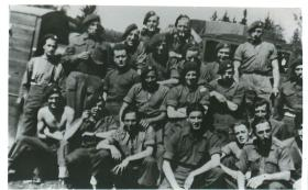 Group photo of Mortar Troop, 1st Airborne Reconnaisance Squadron in Norway, 1945.