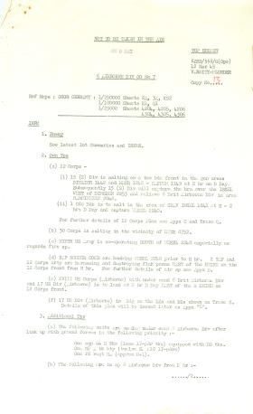 6th Airborne Division Operation Order for Rhine Crossing.