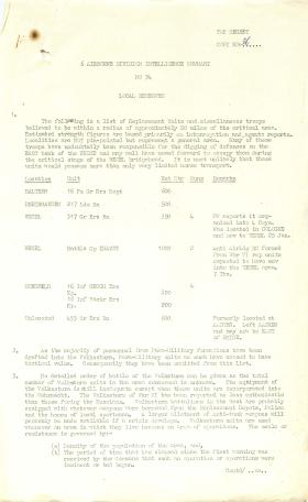 6th Airborne Division intelligence summary for Operation Varsity.