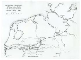Map showing 6th Airborne Divisions route from the Rhine to the Baltic.