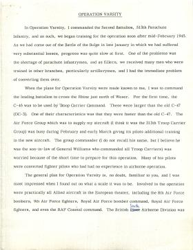 US airborne soldier Colonel Miller's account of Operation Varsity.