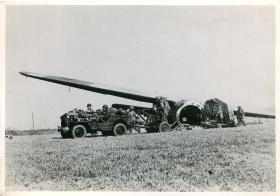 A Horsa glider is unloaded on the landing zone of the Rhine Crossing operation.