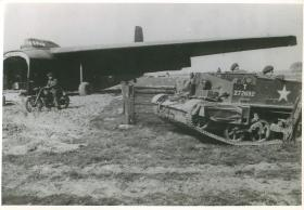 A Hamilcar glider, airborne motorcycle and Universal Carrier on the Rhine Crossing landing zone, March 1945.