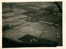 Gliders on the ground after airborne landing in the area of Hamminkeln.