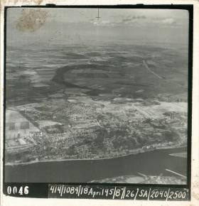Aerial photo of Rhine battle  area taken on April 18th, 1945.