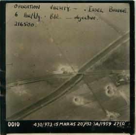 Aerial photo of Issel Bridge, objective of 6 Airlanding Brigade in Rhine Crossing.