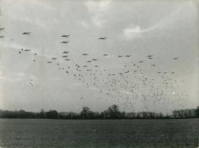 Large scale Rhine reheasal. Dakotas fly over drop zone dropping troops and supplies.