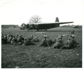 German prisoners among the Airborne gliders. March 1945.