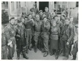 Canadian paras meeting Russian troops on the east side of Wismar. May 2nd 1945.