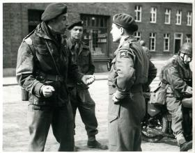 Brig Bellamy commands glider troops in Hamminkeln after its capture. March 1945.