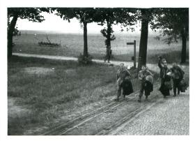 Allied POWs making their way home. Wismar 1945.