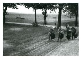 Allied POWs making their way home. Wismar 1945.